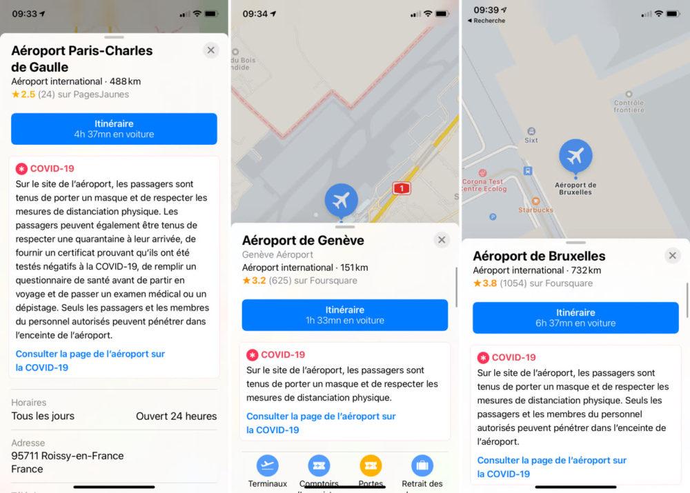 Apple Plans Coronavirus Aeroports Apple Plans ajoute des informations sur le COVID 19 dans plus de 300 aéroports