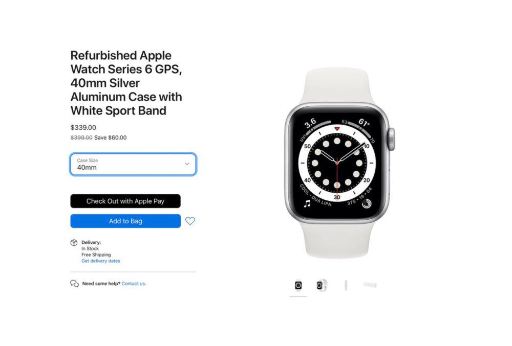 Apple Watch Series 6 Reconditionne Apple propose à la vente des Apple Watch Series 6 et Apple Watch SE reconditionnées (aux États Unis)