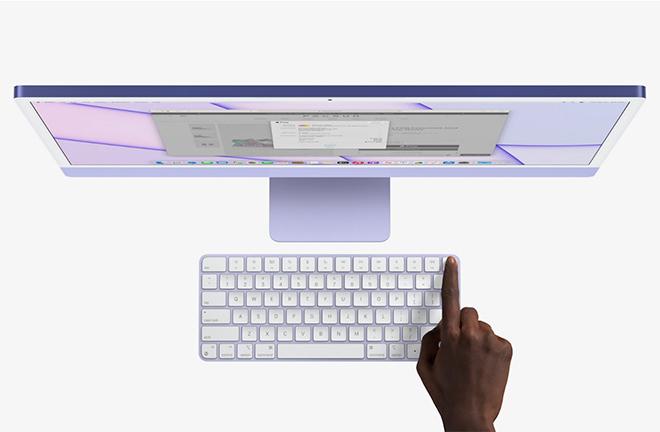 Apple iMac M1 Apple Silicon Touch ID Apple dévoile officiellement un iMac M1 (Apple Silicon) avec un nouveau design et plusieurs coloris