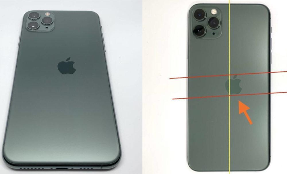 iPhone 11 Pro Logo Apple Mal Positionne Un iPhone 11 Pro avec le logo Apple mal positionné publié sur Twitter