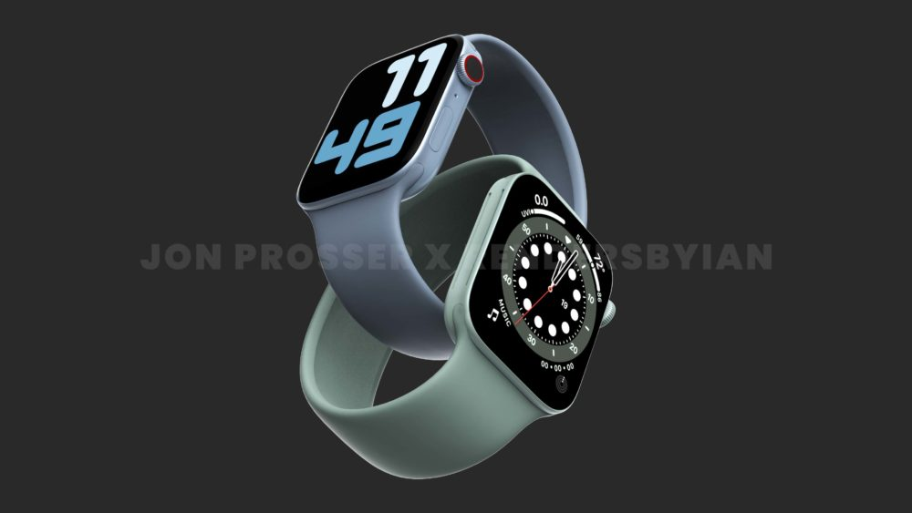 Apple Watch Series 7 Bleu Vert 1 Le design de lApple Watch Series 7 révélé avec des rendus