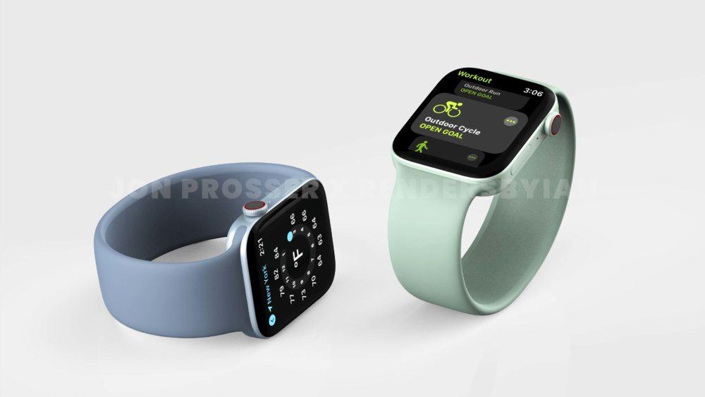 Apple Watch Series 7 Bleu Vert Le design de lApple Watch Series 7 révélé avec des rendus