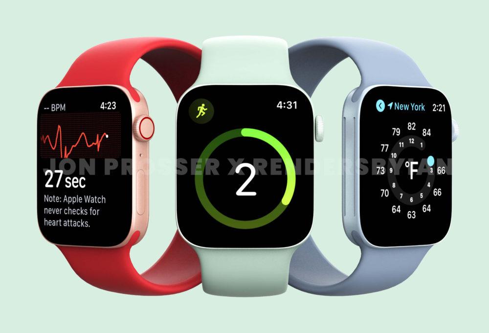 Apple Watch Series 7 Rouge Vert Bleu LApple Watch Series 7 aurait une batterie plus grosse et de nouvelles couleurs