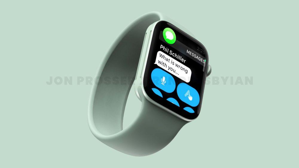 Apple Watch Series 7 Vert Le design de lApple Watch Series 7 révélé avec des rendus