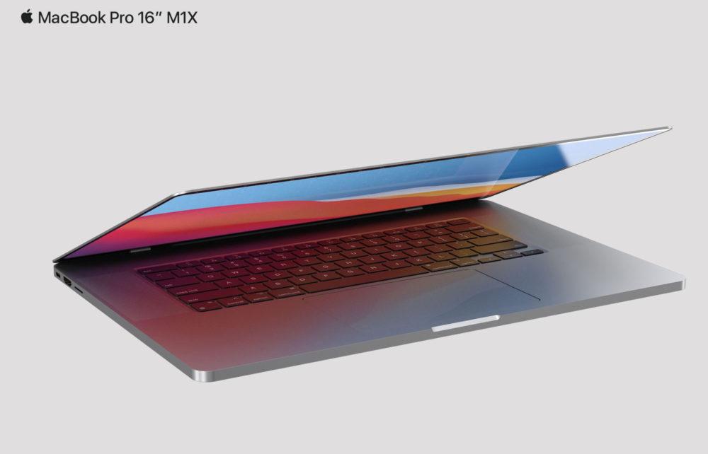 MacBook Pro 2021 16 Pouces Design Rendus Le MacBook Pro M1X aurait une webcam 1080p, 16 Go de RAM, 512 Go de stockage par défaut et plus