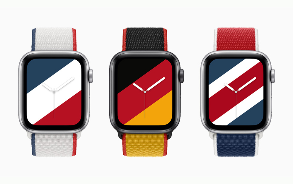 Apple Watch watchOS8 Bracelet Apple Watch France Allemagne Grande Bretagne Apple annonce de nouveaux bracelets Apple Watch aux couleurs de 22 pays