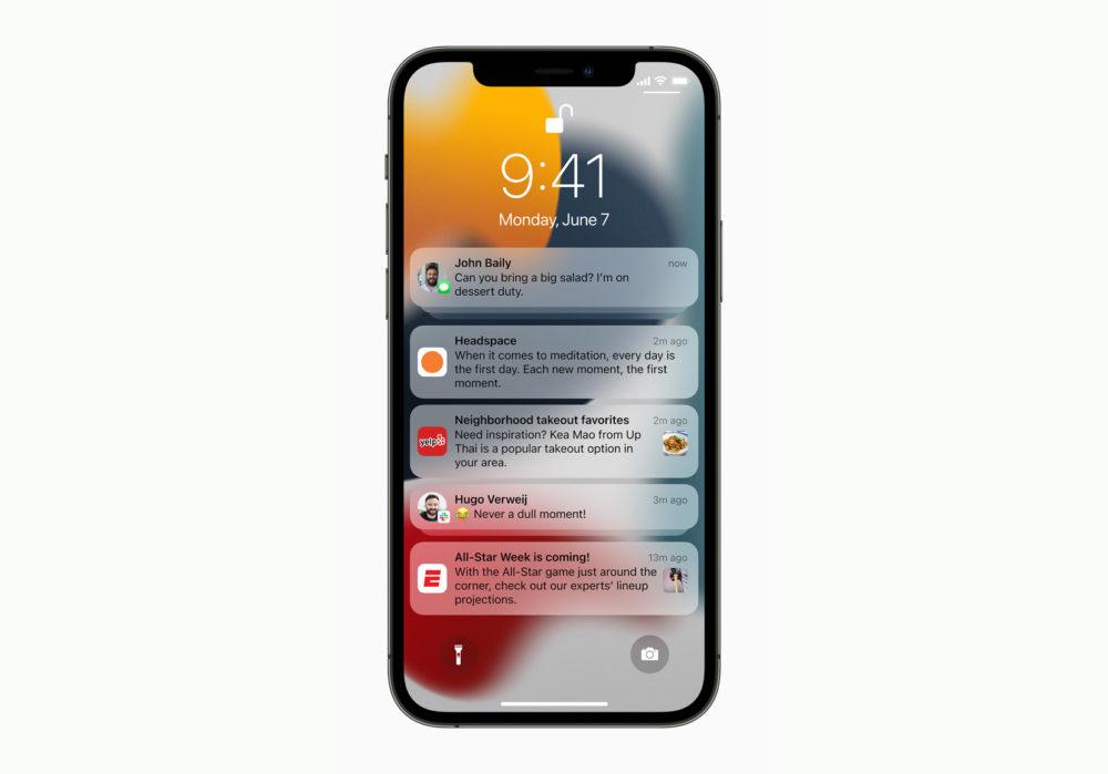 Apple iPhone 12 Pro iOS 15 Notifications [WWDC 2021]   iOS 15 : partage de médias sur FaceTime, Live Text, améliorations dans Plans, Météo, Wallet...