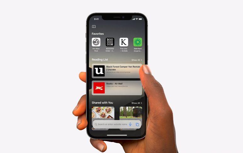 Apple iPhone 12 Pro iOS 15 Safari [WWDC 2021]   iOS 15 : partage de médias sur FaceTime, Live Text, améliorations dans Plans, Météo, Wallet...