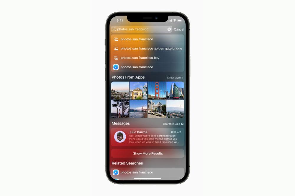 Apple iPhone 12 Pro iOS 15 Spotlight Photos [WWDC 2021]   iOS 15 : partage de médias sur FaceTime, Live Text, améliorations dans Plans, Météo, Wallet...