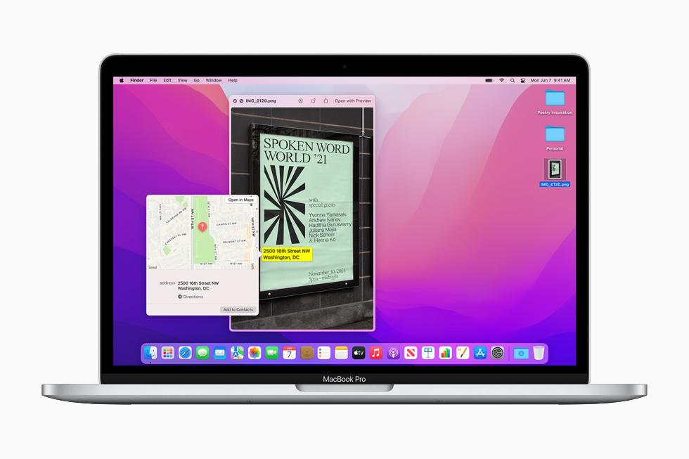 Apple macOS Monterey Texte En Direct [WWDC 2021]   macOS 12 Monterey : Live Text, SharePlay, Universal Control, Raccourcis et plus