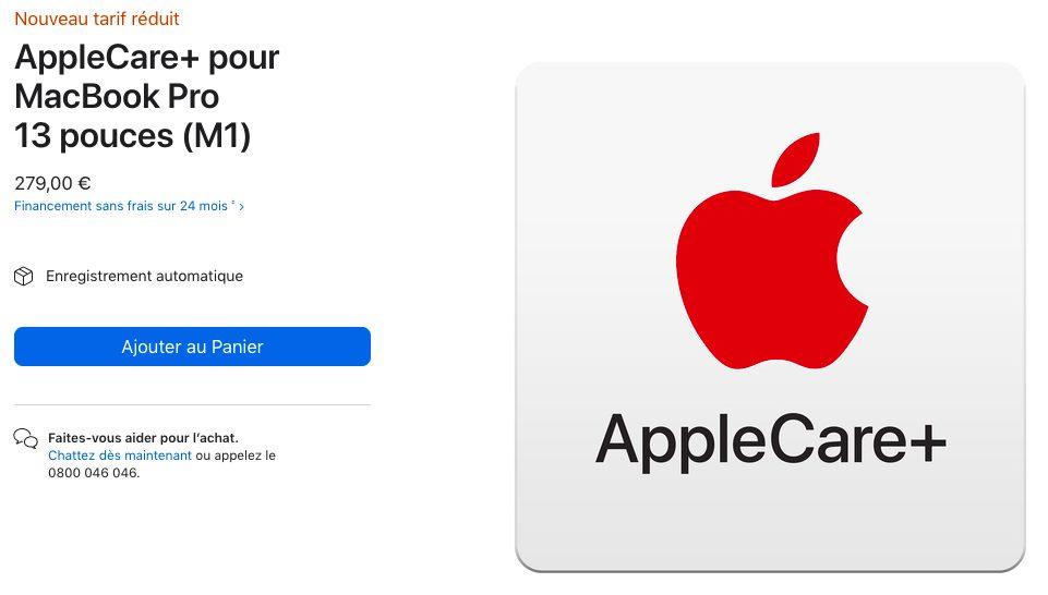 AppleCare Plus Pour MacBook Pro 13 pouces M1 Le prix de lAppleCare+ pour les MacBook Air et les MacBook Pro M1 est réduit