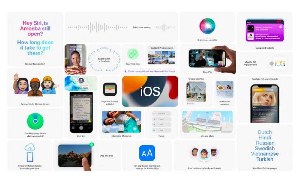 iOS 15 Nouveautes WWDC [WWDC 2021]   iOS 15 : partage de médias sur FaceTime, Live Text, améliorations dans Plans, Météo, Wallet...