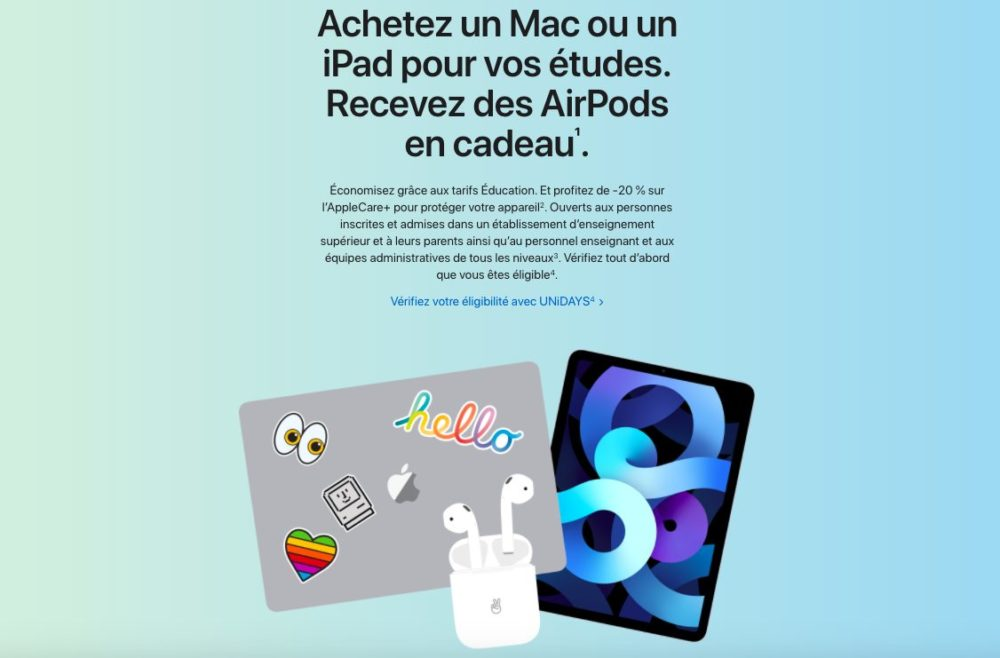 Back to School 2021 en France Back to School 2021 en France : Apple offre gratuitement des AirPods à lachat dun iPad ou Mac