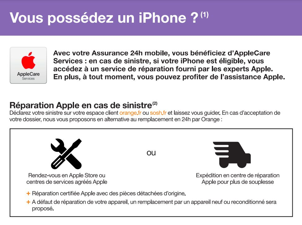 AppleCare Services Orange LAppleCare Services pour les iPhone est disponible chez Orange