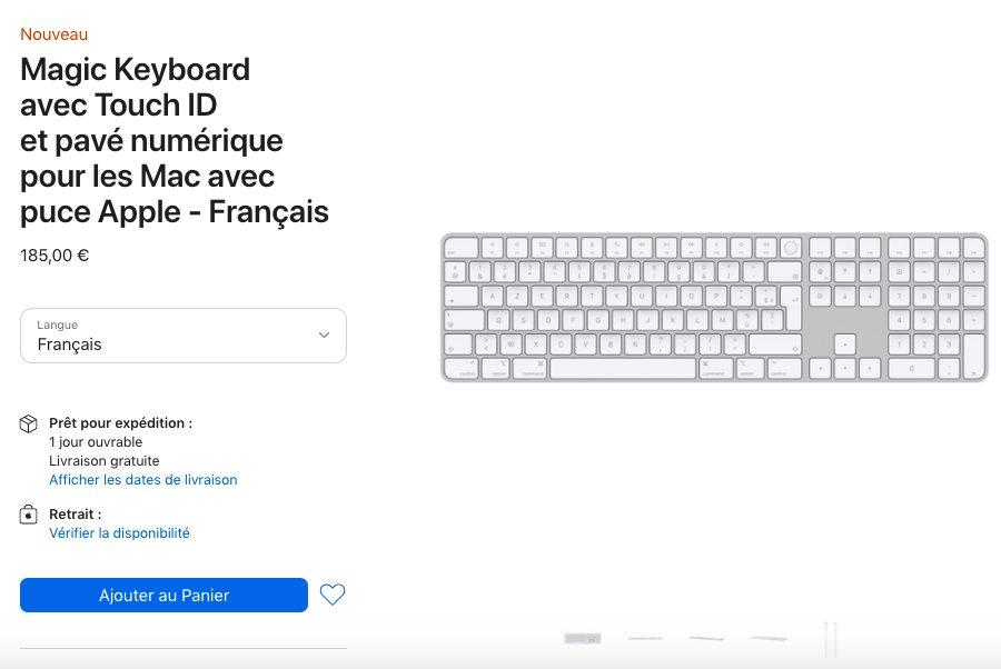 Magic Keyboard avec Touch ID et pave numerique pour les Mac avec puce Apple Prix Le Magic Keyboard avec Touch ID est disponible en achat séparé