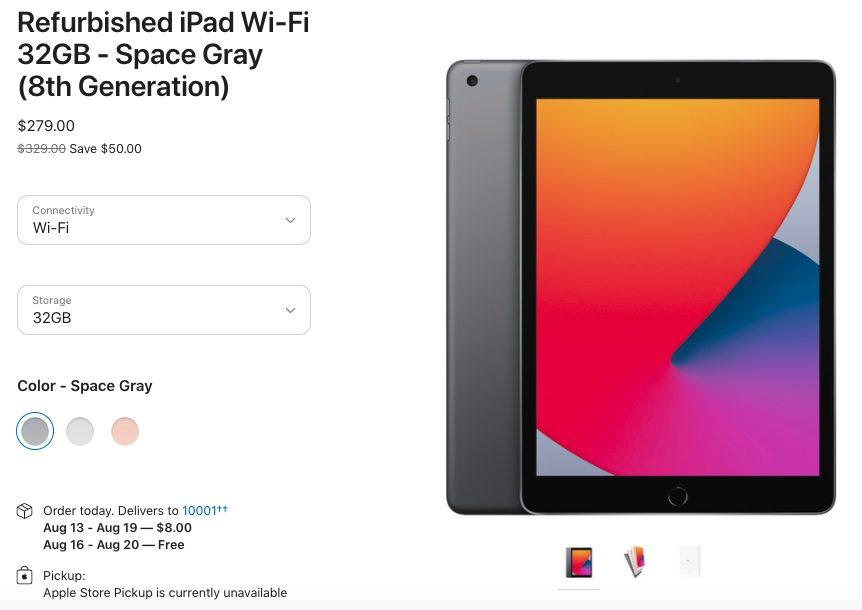 iPad 8 Wi Fi 32GB Gris Sideral Reconditionne Apple commence à vendre des iPad 8 (2020) reconditionnés aux États Unis