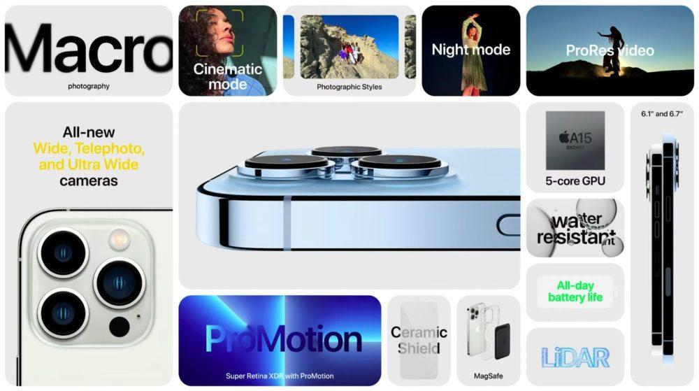 Apple iPhone 13 Pro iPhone 13 Pro Max Nouveautes Voici liPhone 13 Pro et 13 Pro Max : encoche réduite, puce A15, écran ProMotion 120 Hz, du nouveau pour la vidéo...