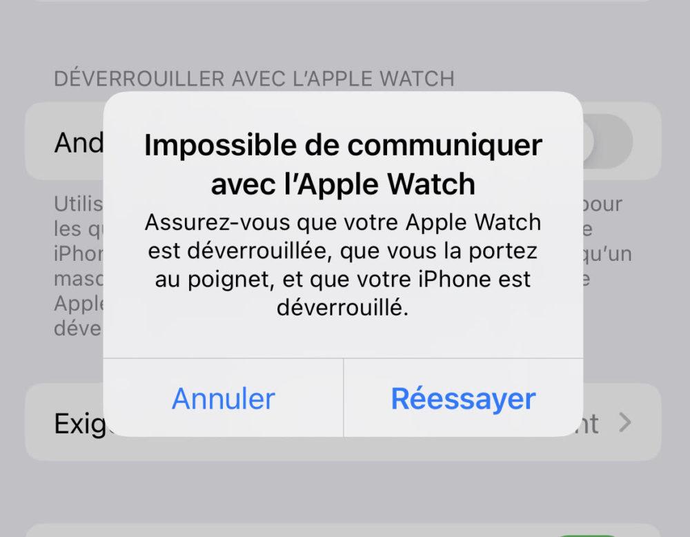 Bug iPhone 13 Peut Pas Etre Deverouille Avec Apple Watch 1 iOS 15.1 : la bêta 2 corrige le bug qui empêche le déverrouillage de liPhone 13 avec lApple Watch