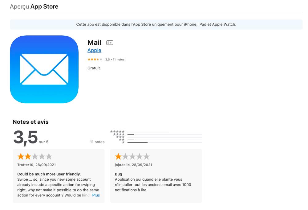 Notes et Avis App Mail Apple sur App Store Apple permet désormais aux utilisateurs de noter ses applications sur lApp Store