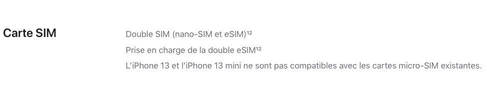 iPhone 13 Double eSIM Les iPhone 13 sont compatibles avec la double eSIM