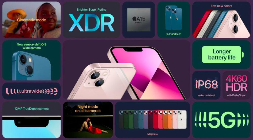 iPhone 13 iPhone 13 mini Nouveautes Apple annonce liPhone 13 et iPhone 13 mini : encoche plus petite, mode portrait pour la vidéo, puce A15...