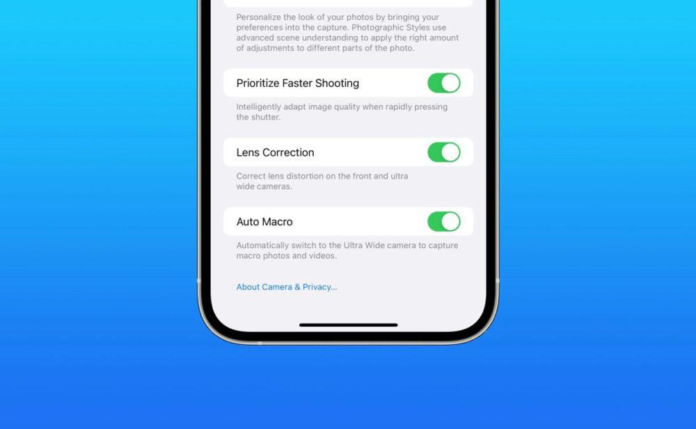 Auto Macro Commutateur La bêta 3 diOS 15.1 embarque une option pour désactiver le mode macro automatique sur les iPhone 13 Pro