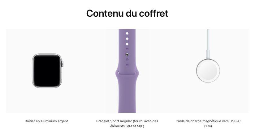 Contenu du coffret Apple Watch SE Apple Store Apple vend à présent lApple Watch SE avec un câble USB C dans la boîte