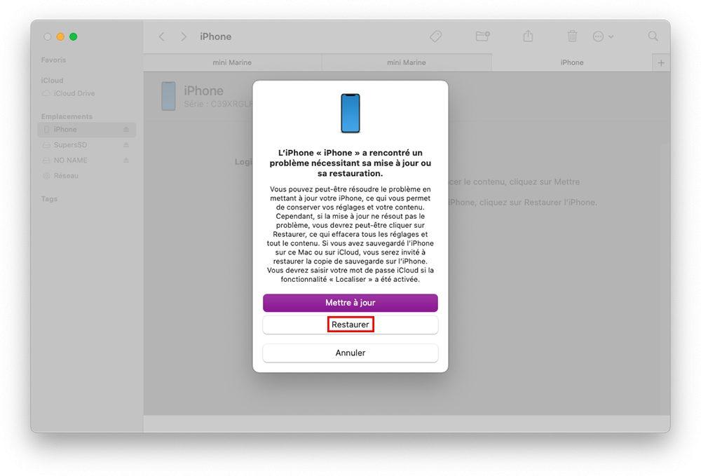 mac finder restaurer iphone recovery Comment débloquer un iPhone qui ne répond plus