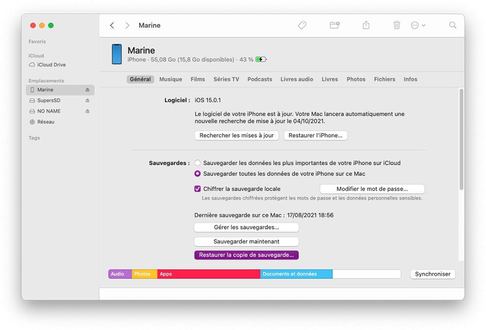mac finder restaurer sauvegarde iphone Comment débloquer un iPhone qui ne répond plus
